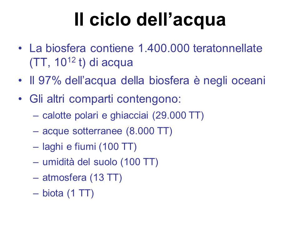 Il ciclo dell'acqua La biosfera contiene 1.400.000 teratonnellate (TT, 1012 t) di acqua. Il 97% dell'acqua della biosfera è negli oceani.