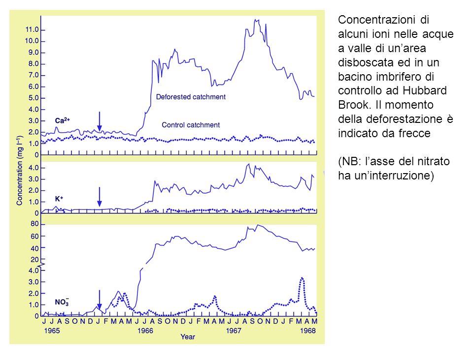 Concentrazioni di alcuni ioni nelle acque a valle di un'area disboscata ed in un bacino imbrifero di controllo ad Hubbard Brook. Il momento della deforestazione è indicato da frecce