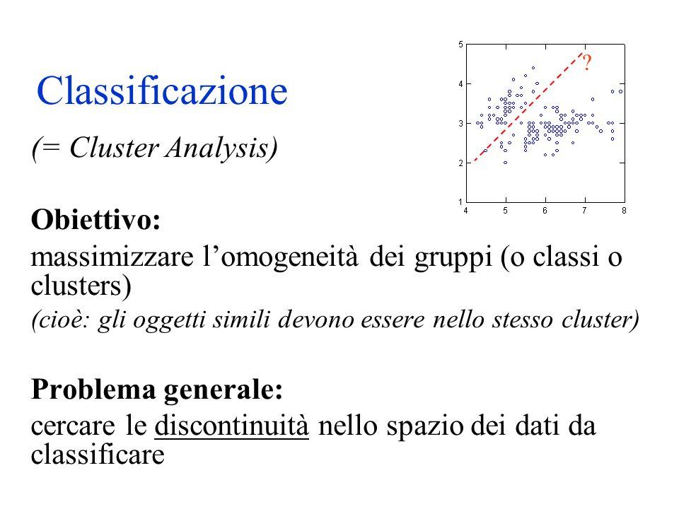Classificazione (= Cluster Analysis) Obiettivo: