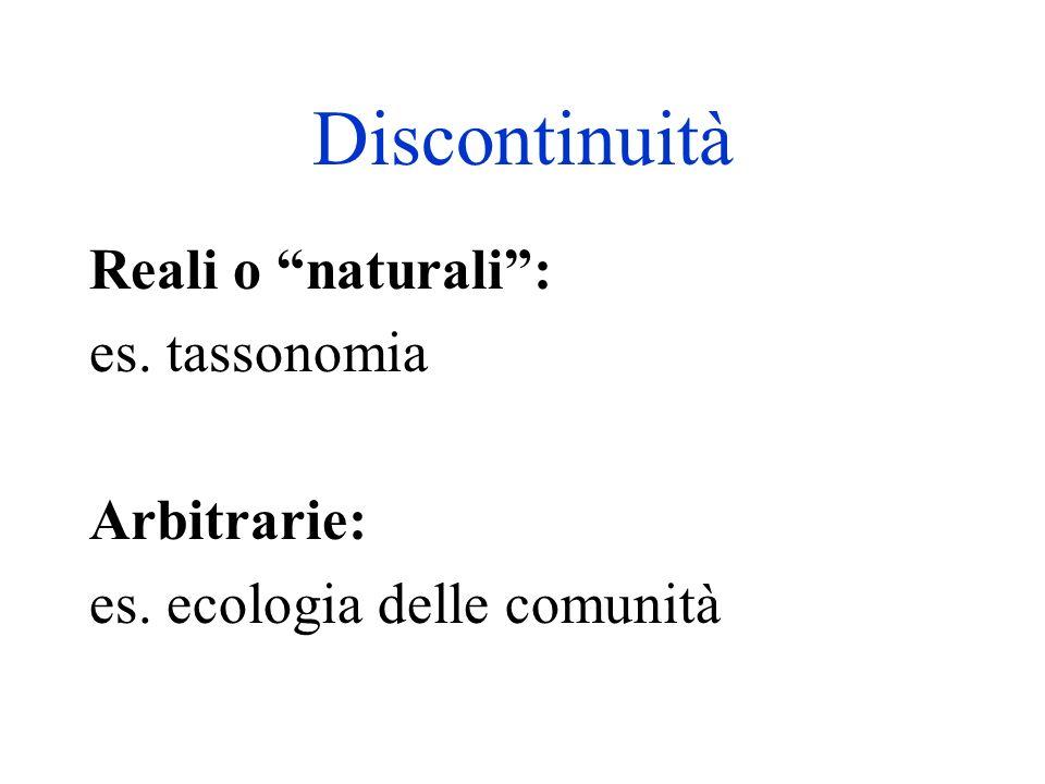 Discontinuità Reali o naturali : es. tassonomia Arbitrarie: