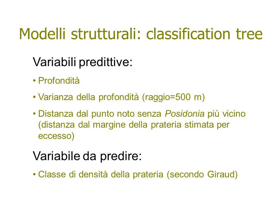 Modelli strutturali: classification tree