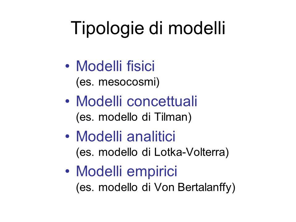 Tipologie di modelli Modelli fisici (es. mesocosmi)