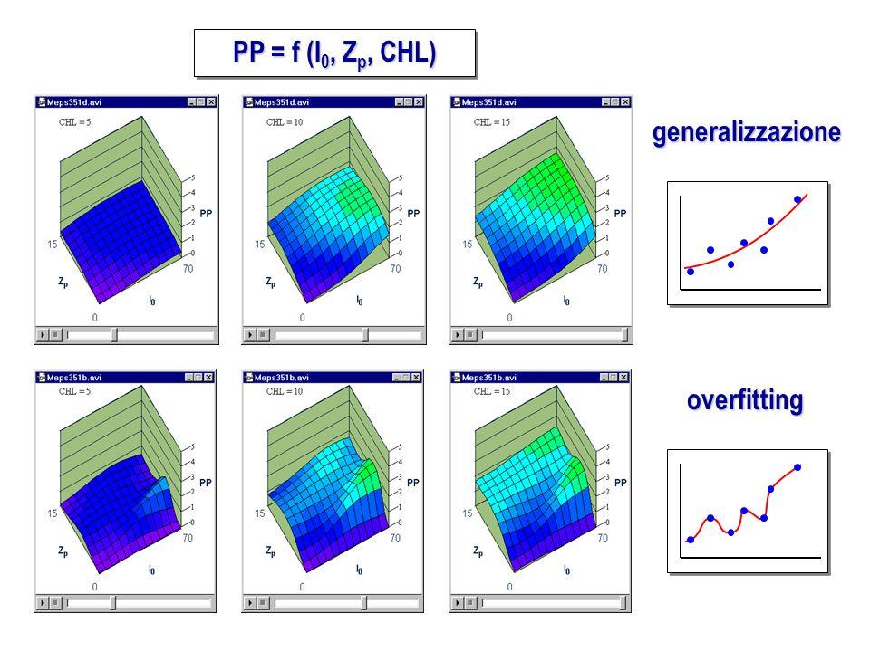 PP = f (I0, Zp, CHL) generalizzazione overfitting