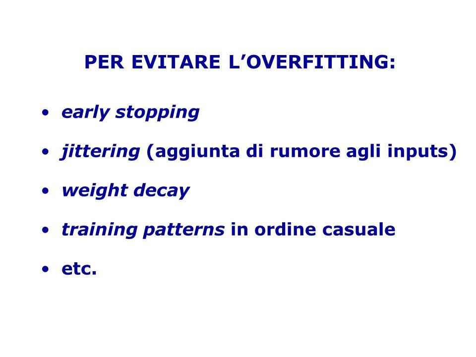 PER EVITARE L'OVERFITTING: