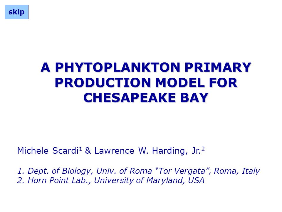 A PHYTOPLANKTON PRIMARY PRODUCTION MODEL FOR CHESAPEAKE BAY