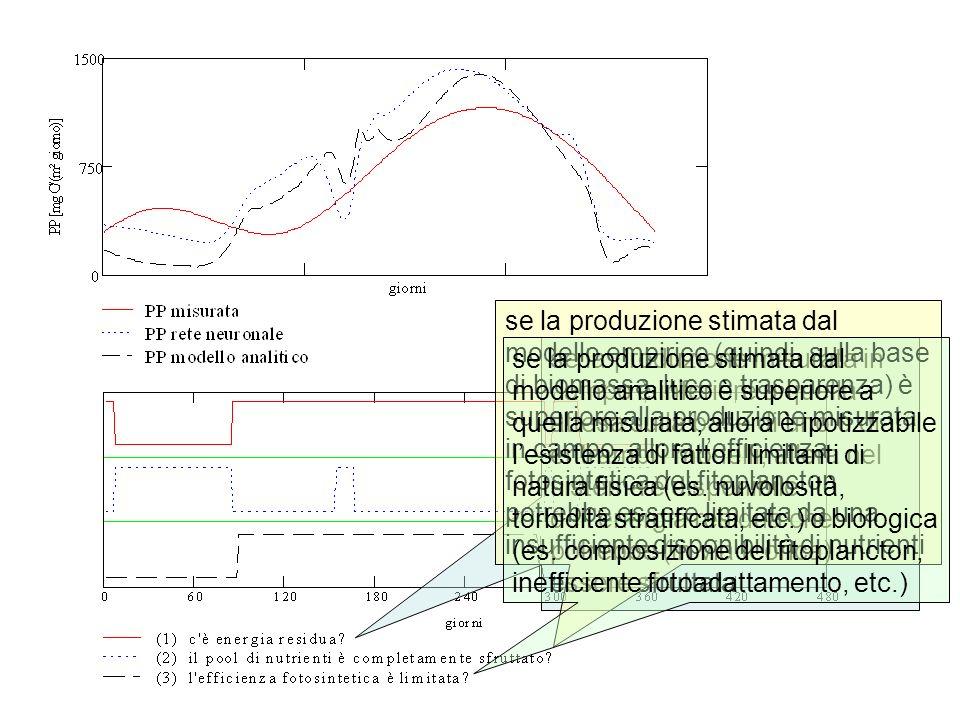 se la produzione stimata dal modello empirico (quindi, sulla base di biomassa, luce e trasparenza) è superiore alla produzione misurata in campo, allora l'efficienza fotosintetica del fitoplancton potrebbe essere limitata da una insufficiente disponibilità di nutrienti