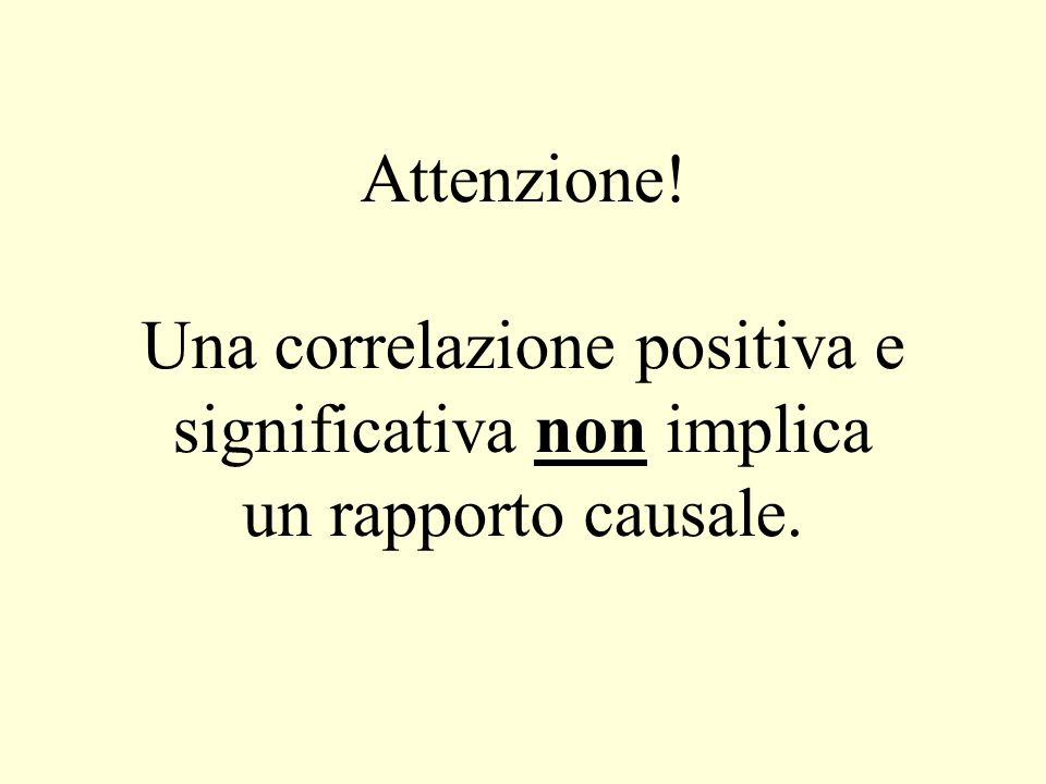 Attenzione! Una correlazione positiva e significativa non implica un rapporto causale.