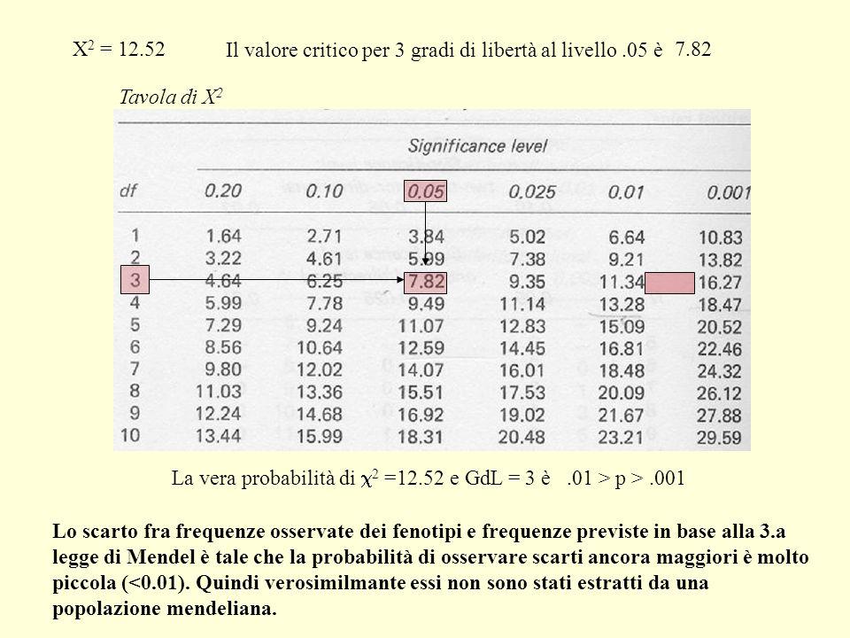 X2 = 12.52 Il valore critico per 3 gradi di libertà. al livello .05 è. 7.82. Tavola di X2.