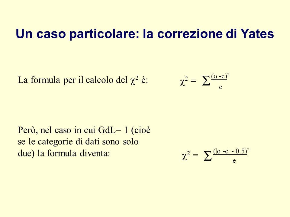 S S Un caso particolare: la correzione di Yates (o -e)2