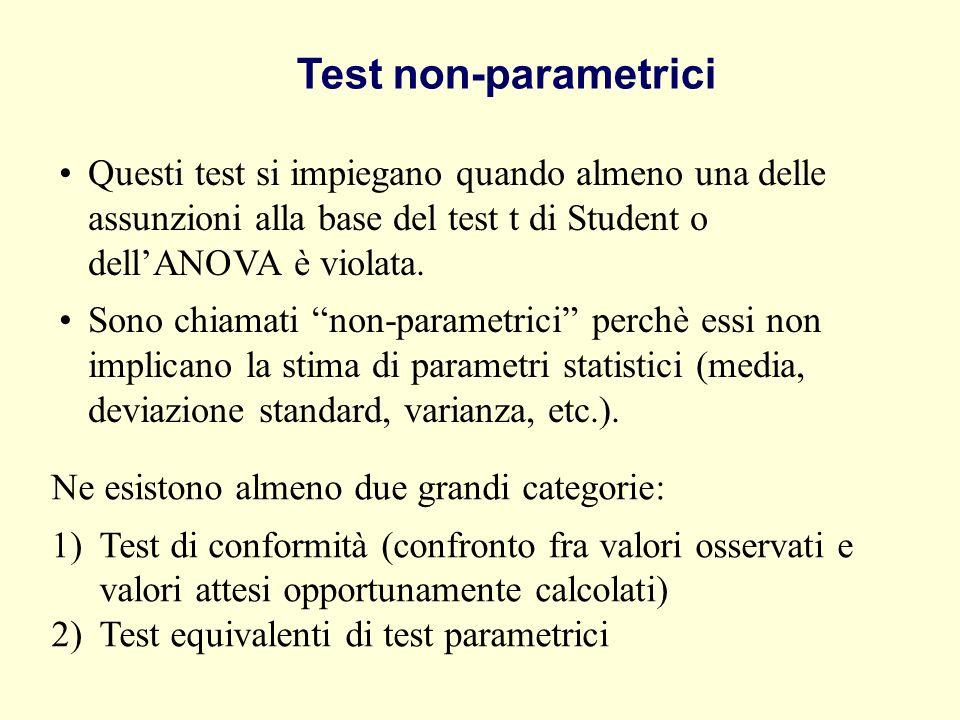 Test non-parametrici Questi test si impiegano quando almeno una delle assunzioni alla base del test t di Student o dell'ANOVA è violata.