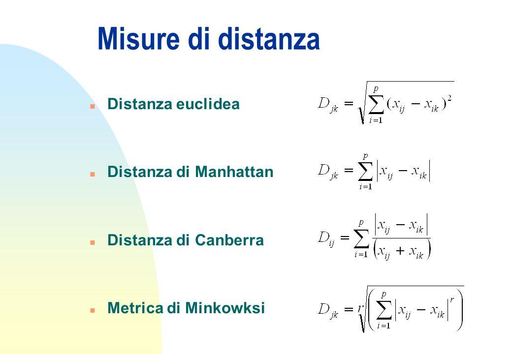 Misure di distanza Distanza euclidea Distanza di Manhattan