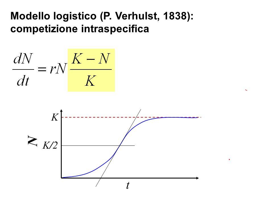 N t Modello logistico (P. Verhulst, 1838): competizione intraspecifica