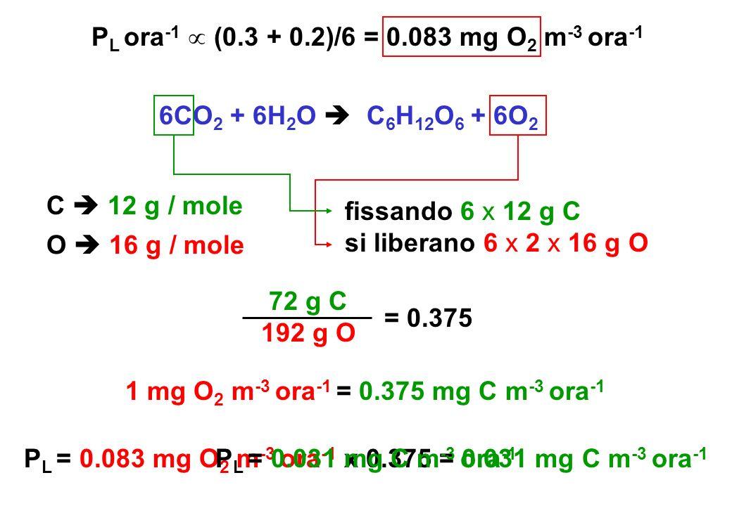PL ora-1  (0.3 + 0.2)/6 = 0.083 mg O2 m-3 ora-1