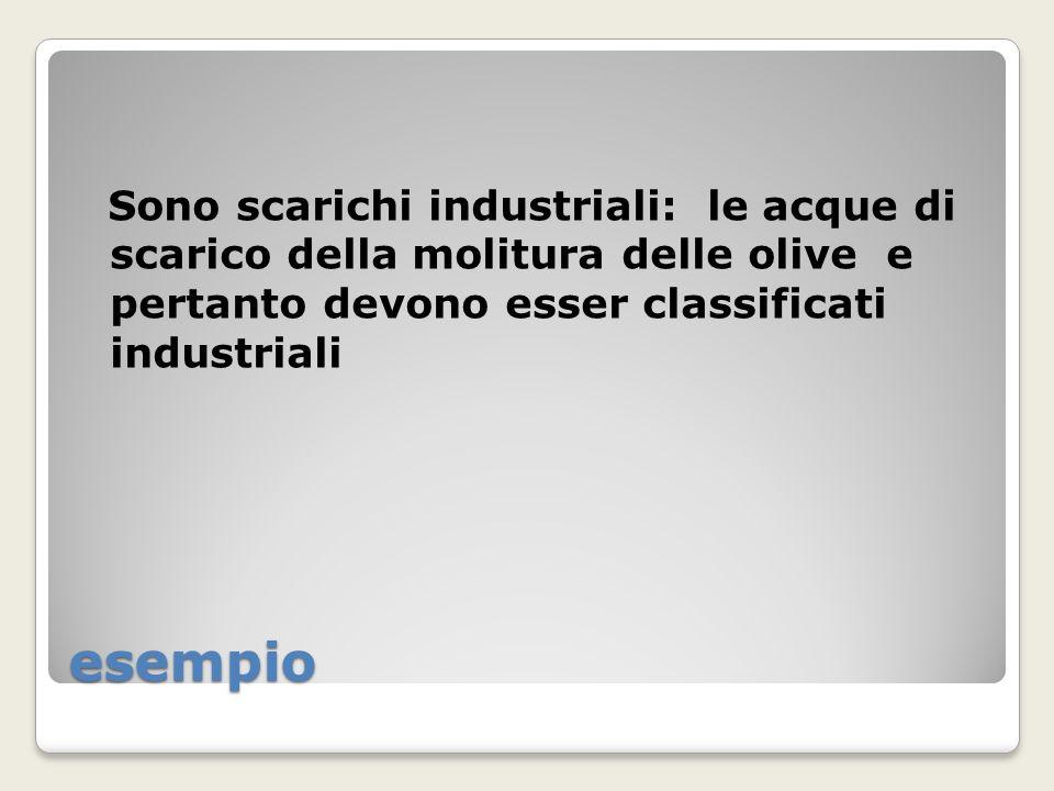 Sono scarichi industriali: le acque di scarico della molitura delle olive e pertanto devono esser classificati industriali