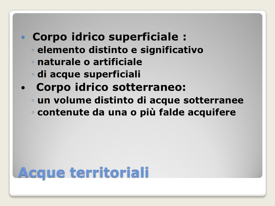 Acque territoriali Corpo idrico superficiale :