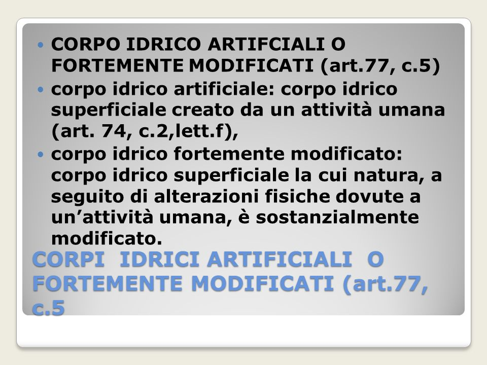 CORPI IDRICI ARTIFICIALI O FORTEMENTE MODIFICATI (art.77, c.5