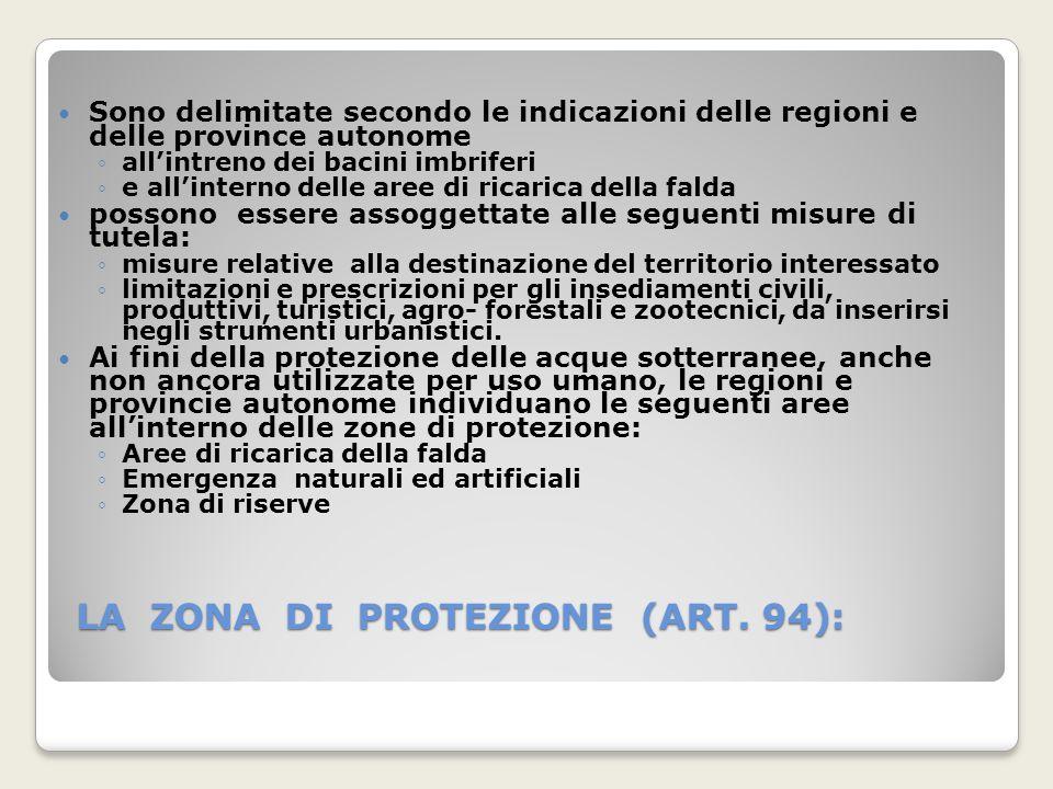 LA ZONA DI PROTEZIONE (ART. 94):