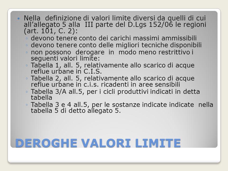 Nella definizione di valori limite diversi da quelli di cui all'allegato 5 alla III parte del D.Lgs 152/06 le regioni (art. 101, C. 2):