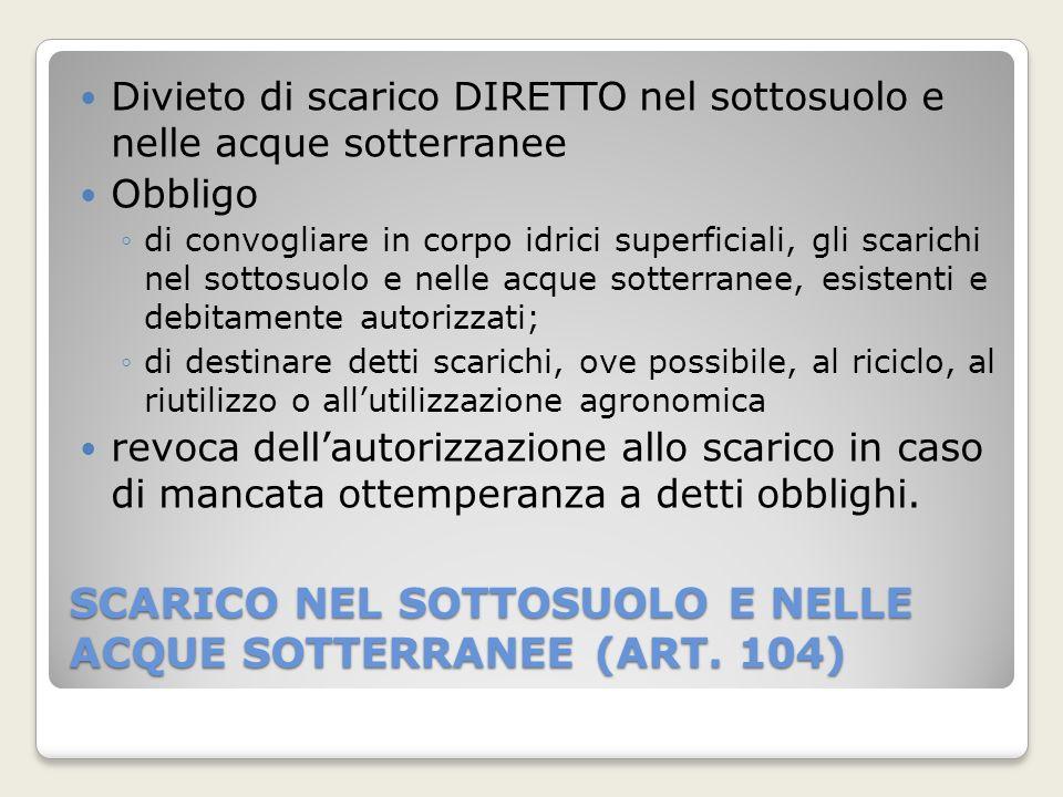 SCARICO NEL SOTTOSUOLO E NELLE ACQUE SOTTERRANEE (ART. 104)