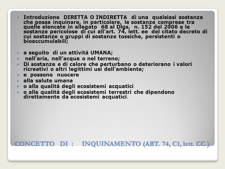 CONCETTO DI : INQUINAMENTO (ART. 74, C1, lett. CC )
