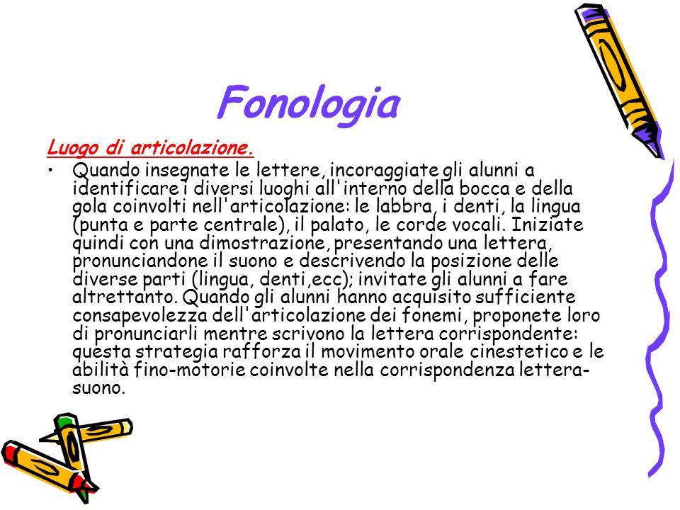 Fonologia Luogo di articolazione.