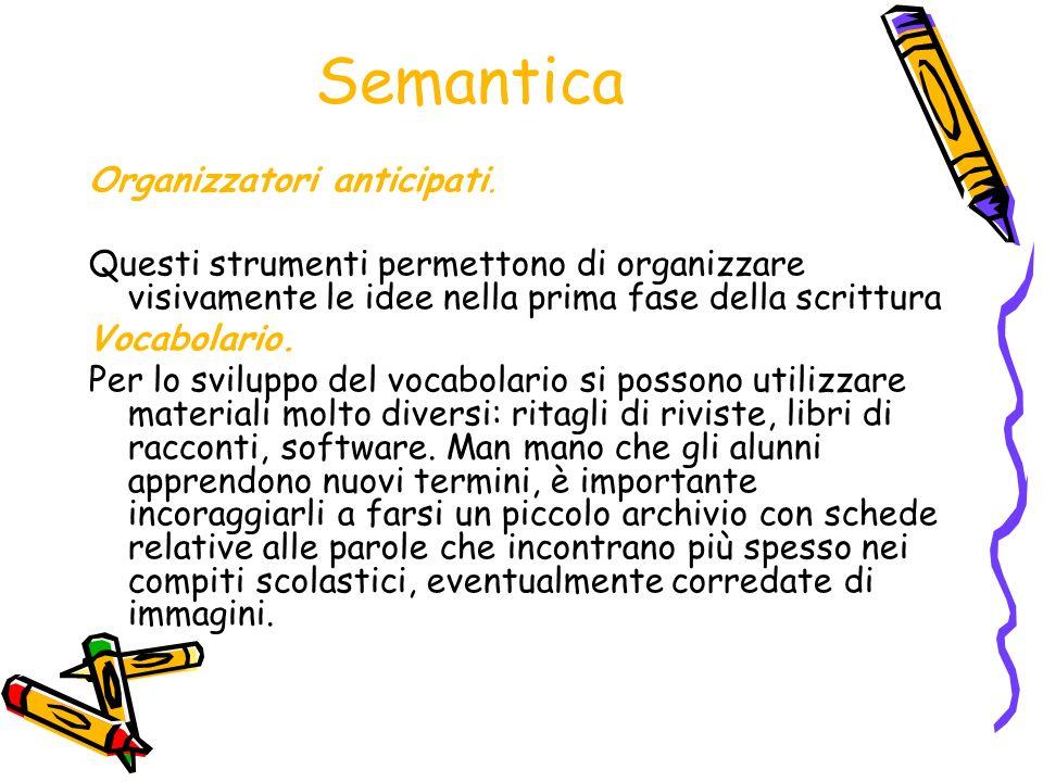 Semantica Organizzatori anticipati.