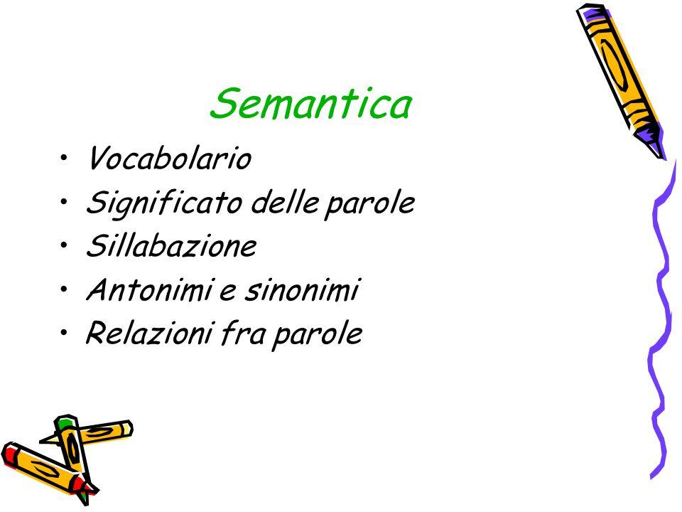 Semantica Vocabolario Significato delle parole Sillabazione