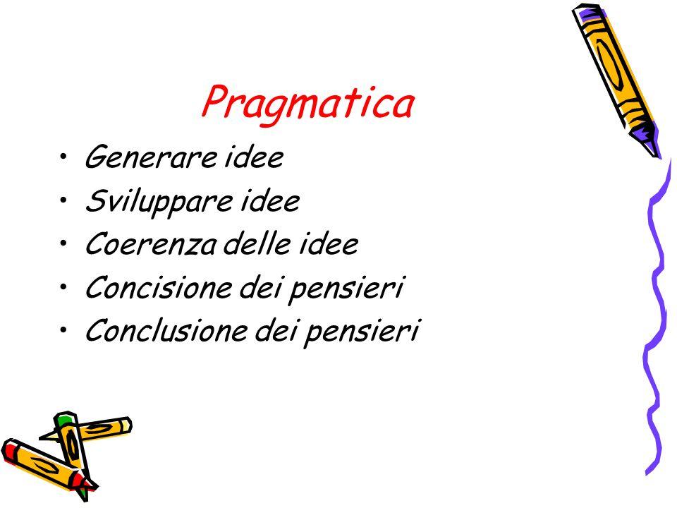 Pragmatica Generare idee Sviluppare idee Coerenza delle idee