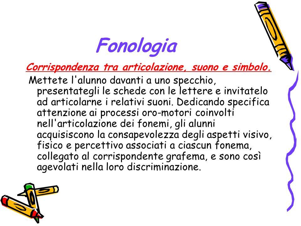 Fonologia Corrispondenza tra articolazione, suono e simbolo.