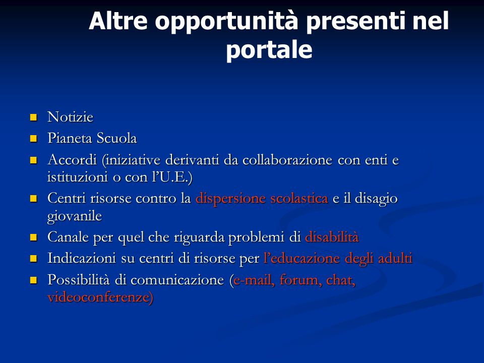 Altre opportunità presenti nel portale