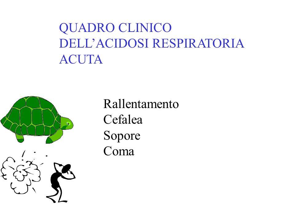 QUADRO CLINICO DELL'ACIDOSI RESPIRATORIA ACUTA Rallentamento Cefalea Sopore Coma