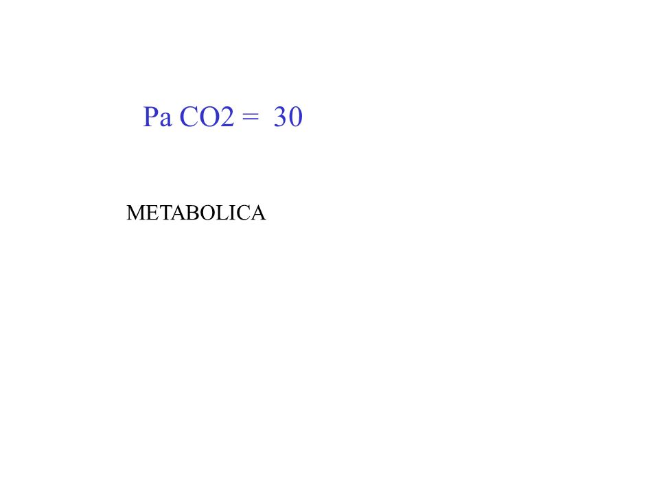 Pa CO2 = 30 METABOLICA
