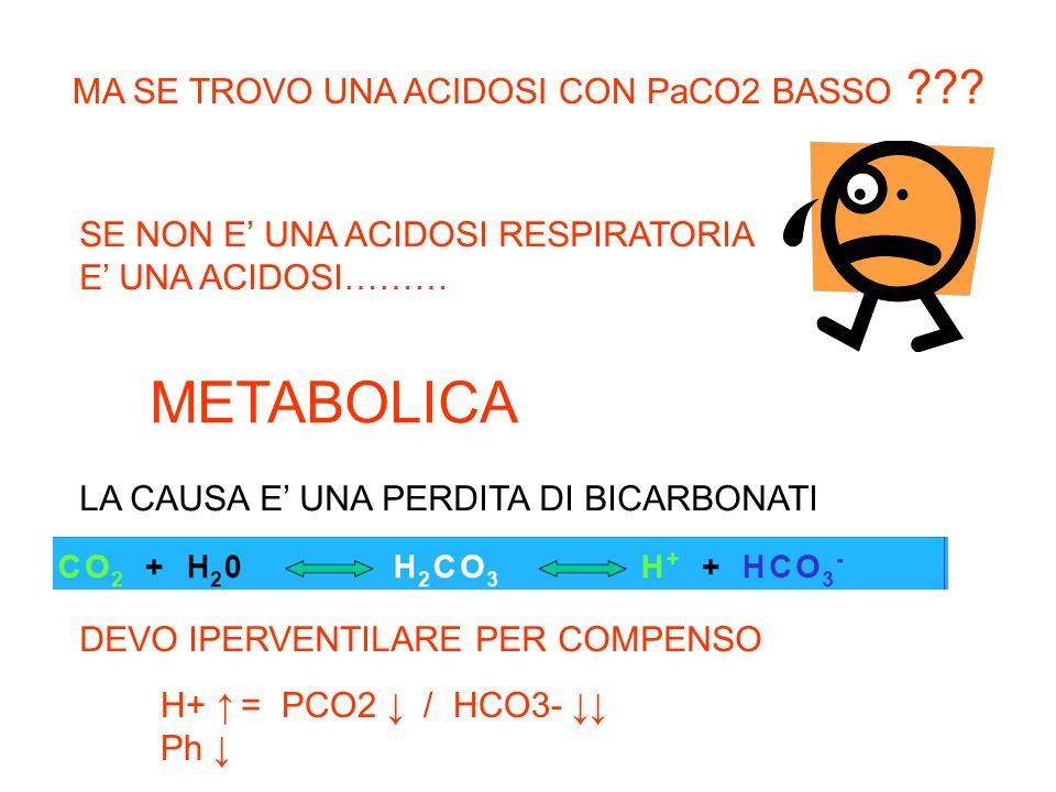 METABOLICA MA SE TROVO UNA ACIDOSI CON PaCO2 BASSO