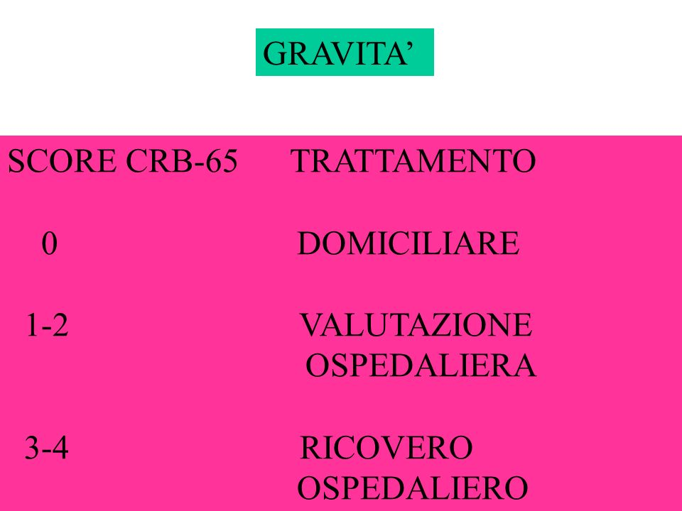 GRAVITA'SCORE CRB-65 TRATTAMENTO. 0 DOMICILIARE. 1-2 VALUTAZIONE.