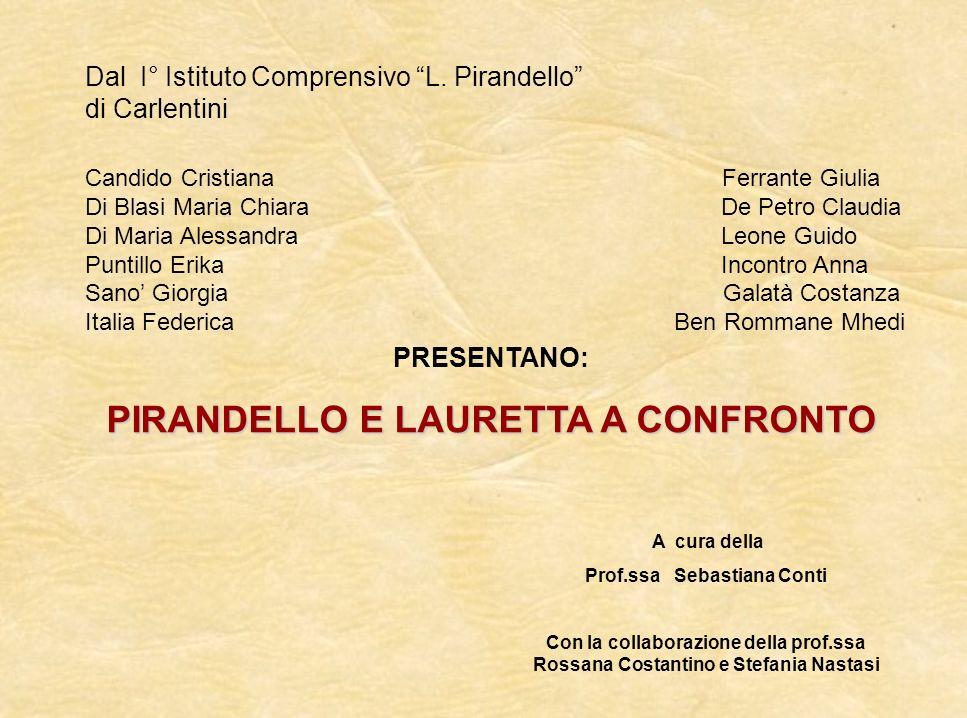 PIRANDELLO E LAURETTA A CONFRONTO Prof.ssa Sebastiana Conti
