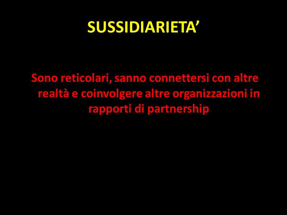 SUSSIDIARIETA' Sono reticolari, sanno connettersi con altre realtà e coinvolgere altre organizzazioni in rapporti di partnership.