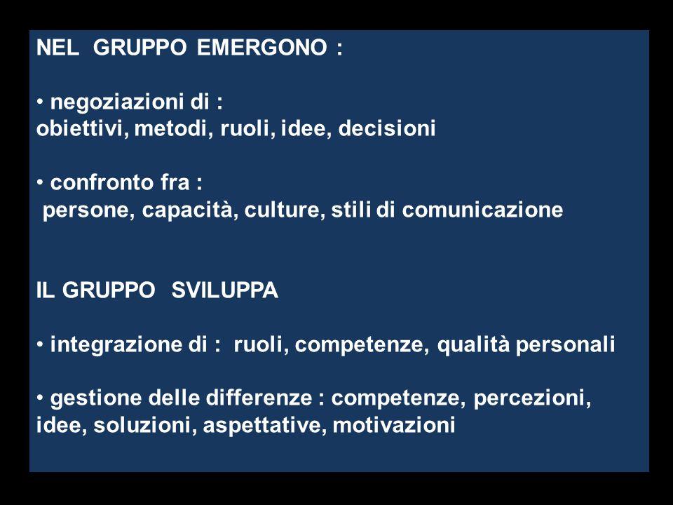 obiettivi, metodi, ruoli, idee, decisioni confronto fra :