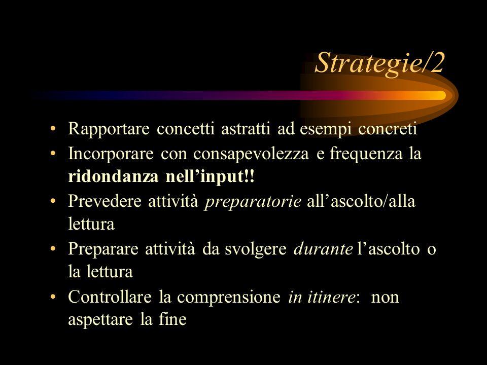 Strategie/2 Rapportare concetti astratti ad esempi concreti