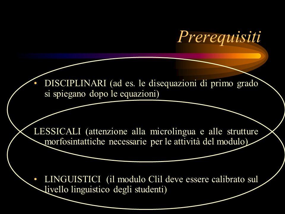 Prerequisiti DISCIPLINARI (ad es. le disequazioni di primo grado si spiegano dopo le equazioni)