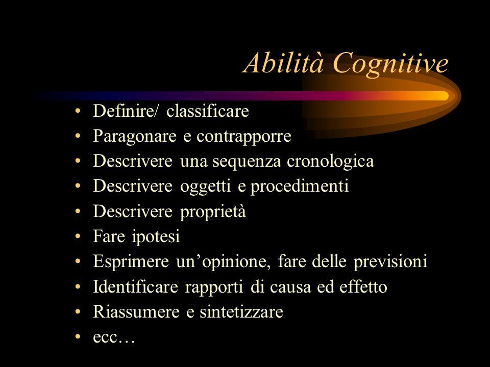 Abilità Cognitive Definire/ classificare Paragonare e contrapporre