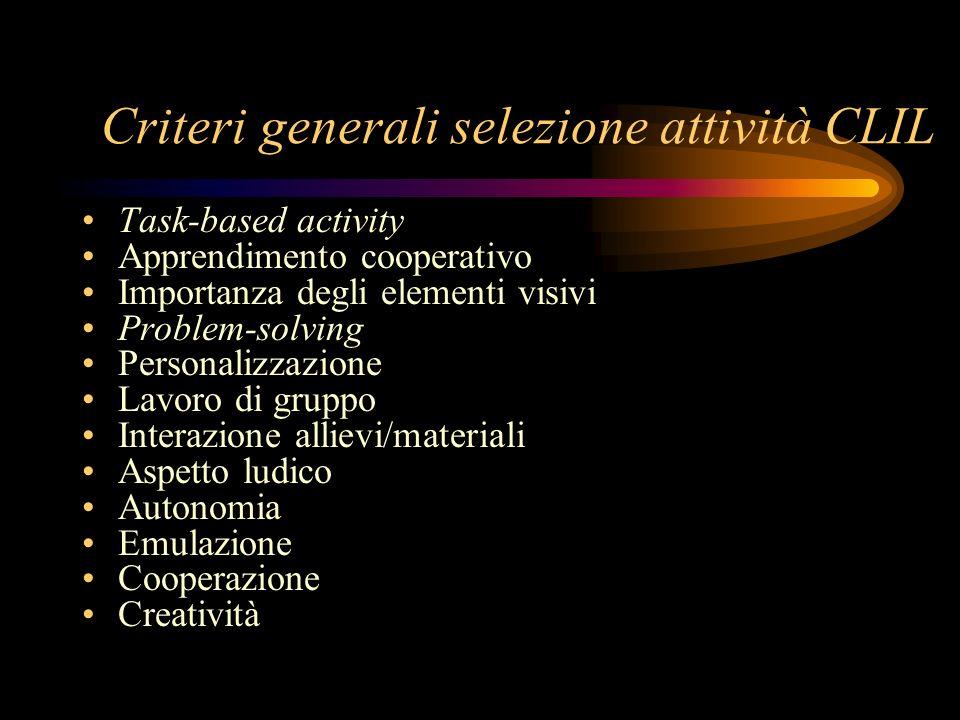 Criteri generali selezione attività CLIL