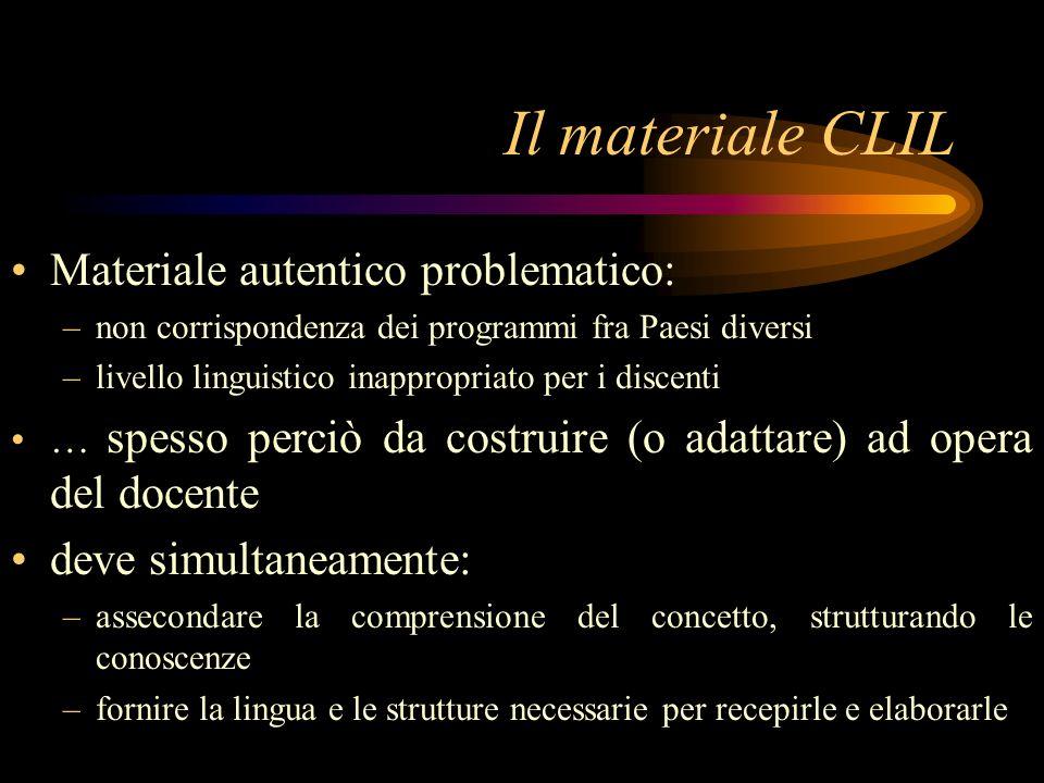 Il materiale CLIL Materiale autentico problematico: