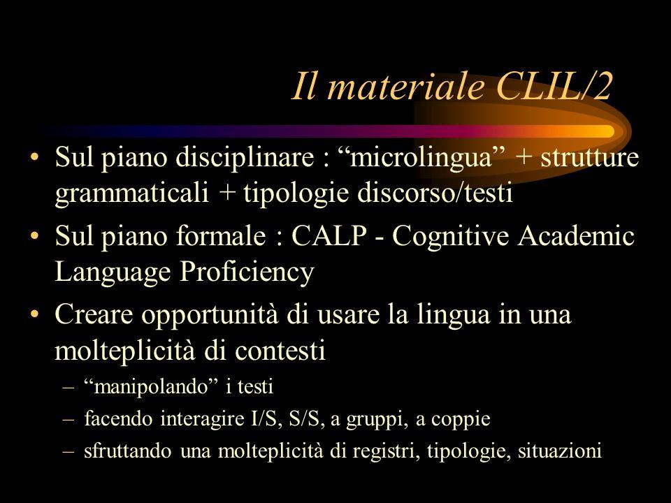 Il materiale CLIL/2 Sul piano disciplinare : microlingua + strutture grammaticali + tipologie discorso/testi.