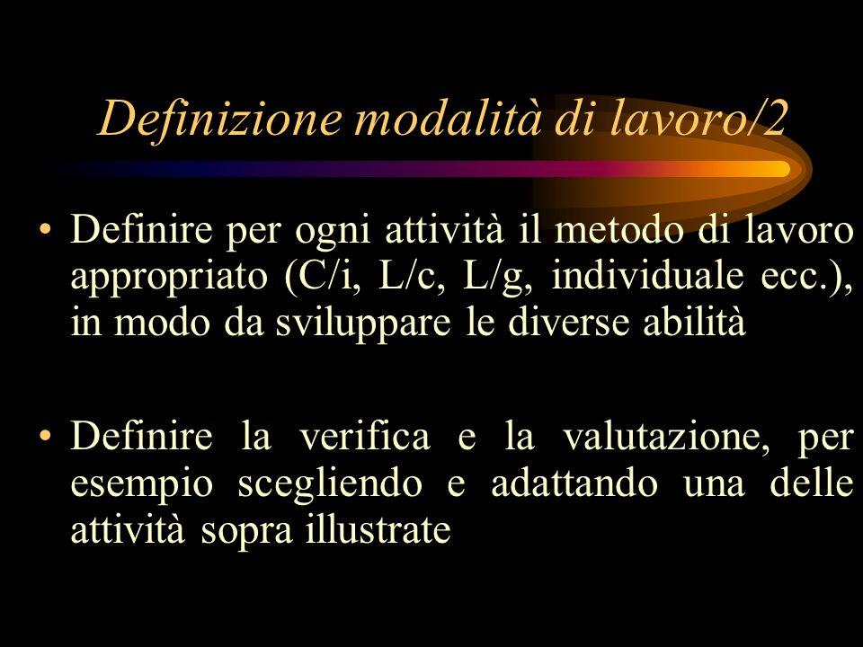 Definizione modalità di lavoro/2