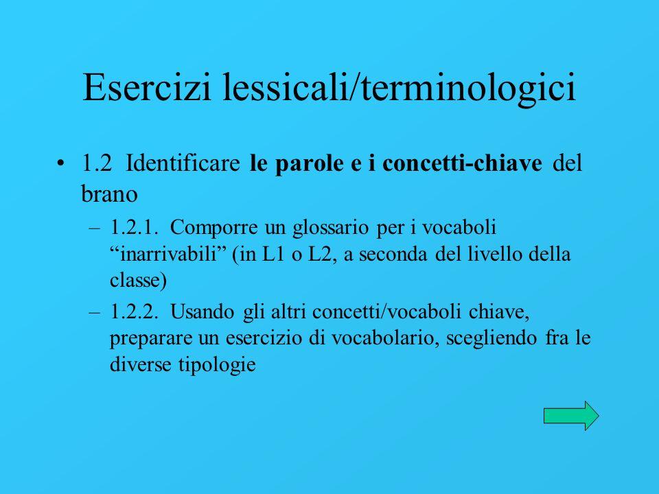 Esercizi lessicali/terminologici