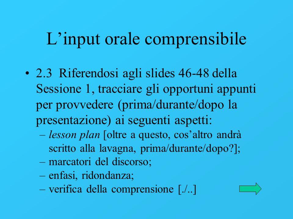 L'input orale comprensibile