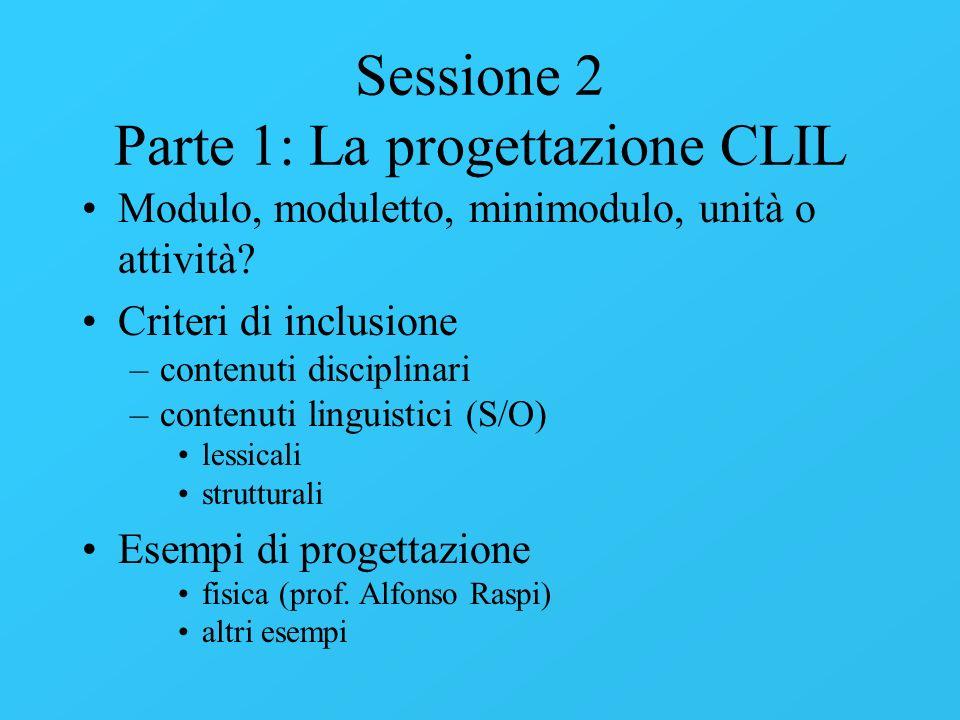Sessione 2 Parte 1: La progettazione CLIL