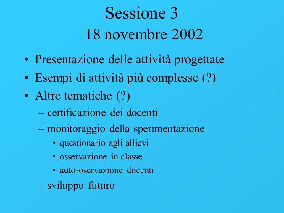 Sessione 3 18 novembre 2002 Presentazione delle attività progettate