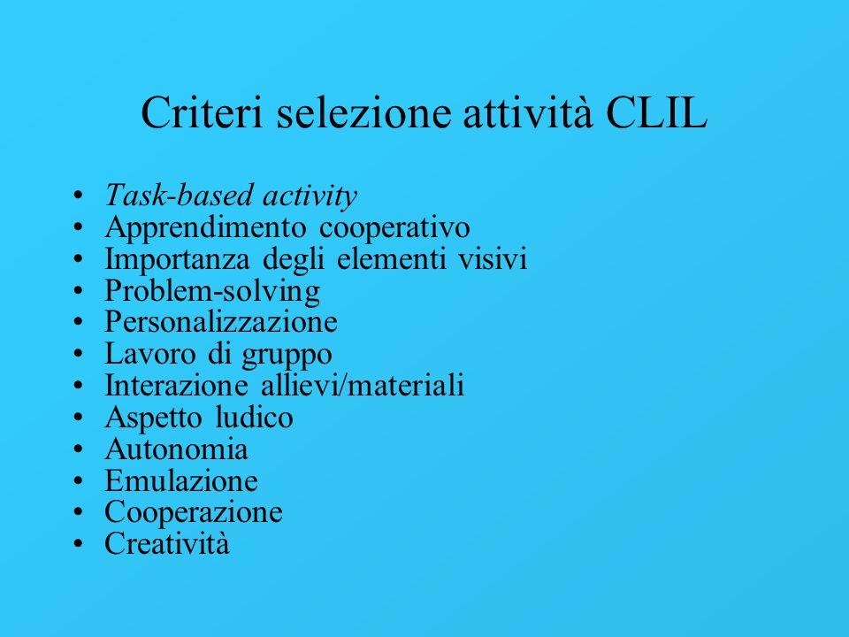 Criteri selezione attività CLIL