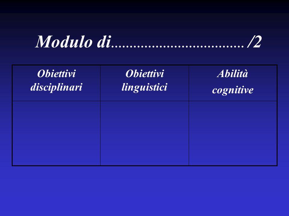 Obiettivi linguistici Obiettivi disciplinari
